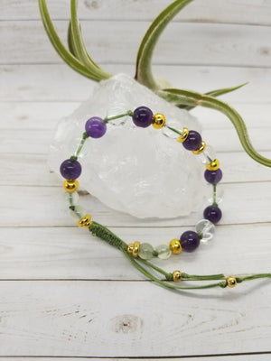 Amethyst, Clear Quartz & Green Garnet Mala Style Bracelet with Gold Accents