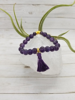 Amethyst Stacker Bracelet with Gold Accents and Handmade Silk Tassel