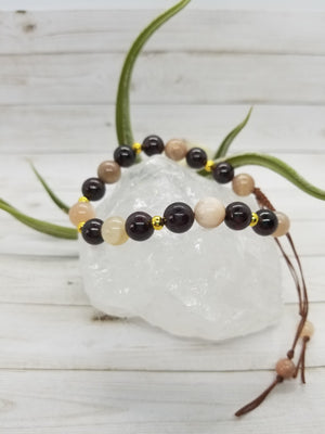 Garnet & Sunstone Mala Style Bracelet with Gold Accents