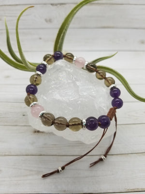 Amethyst, Rose Quartz & Smoky Quartz Mala Style Bracelet with Silver Accents