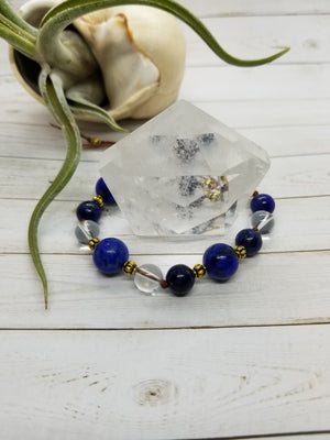 Lapis Lazuli & Clear Quartz Mala Style Bracelet with Gold Accents