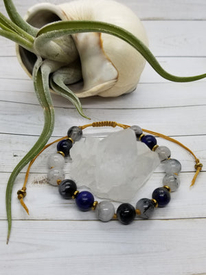 Lapis Lazuli & Tourmalated Quartz Mala Style Bracelet with Gold Hematite Accents