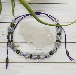 Clear Quartz Mala Style Bracelet with Bronze Accents