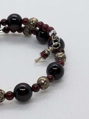 Garnet Memory Wire Bracelet with SIlver Accents