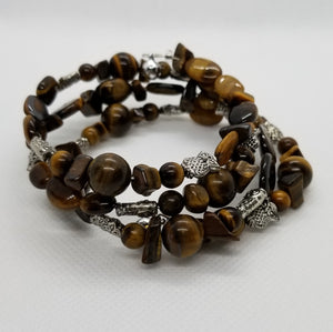 Tiger's Eye Memory Wire Bracelet with Silver Wire, Accents & Bells