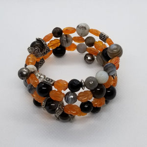 Grey Agate, Carnelian Leaves Memory Wire Bracelet with Silver Accents.