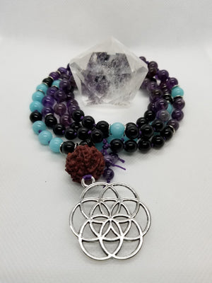 Hand-Knotted, Blue Amazonite, Black Onyx and Chevron Amethyst Mala with Silver Accents