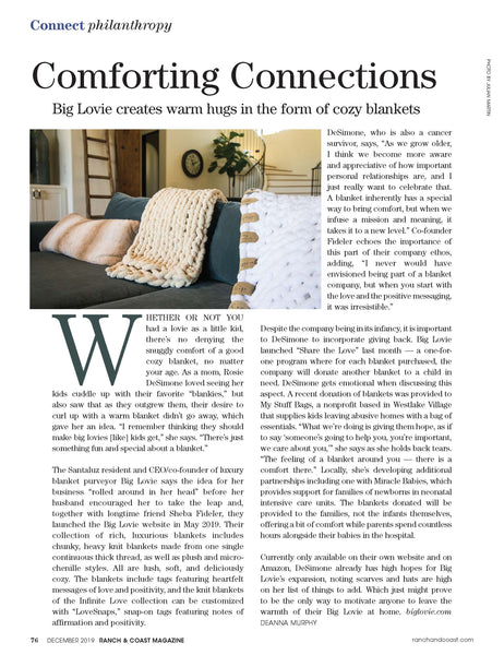 Comforting Connections, by Deanna Murphy Ranch and Coast Magazine