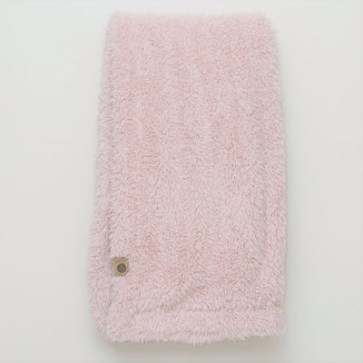 Close up of the Big Guardian Angel blanket in Dusty Pink, with fluffy llama fabric