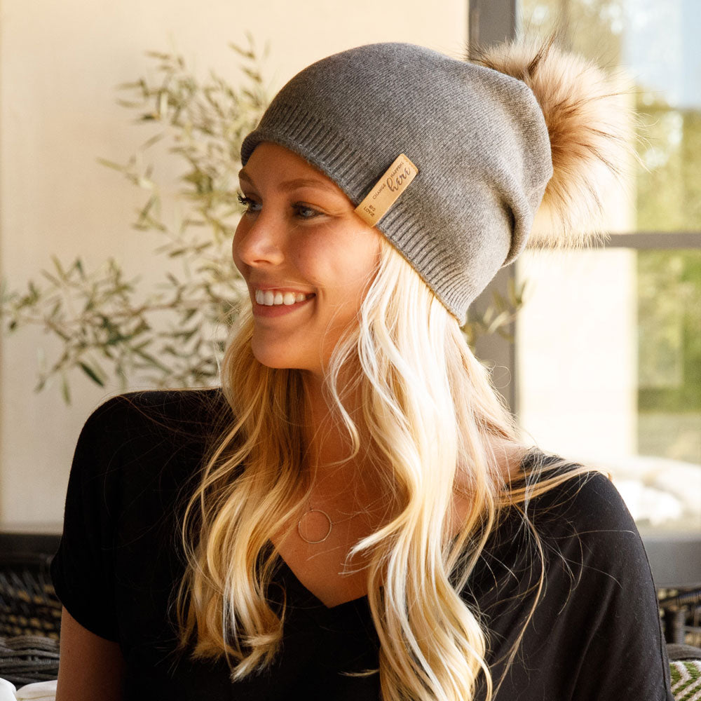 SUPER SOFT SLOUCH HAT WITH REAL FUR POM | CHARCOAL