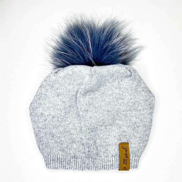 SUPER SOFT SLOUCH HAT WITH REAL FUR POM | ASH 1
