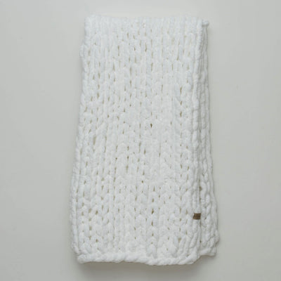 Big Infinite Love Blanket in Whisper White, chunky knit blanket