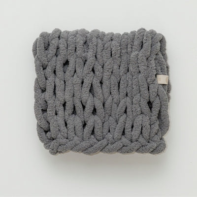 Cuddle Infinite Love Blanket in Slate, white background, chunky knit, nursery blanket