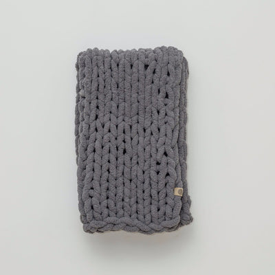 Little Infinite Love Blanket in Slate, white background, chunky knit blanket
