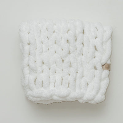 Cuddle Infinite Love Blanket in White, white background, chunky knit