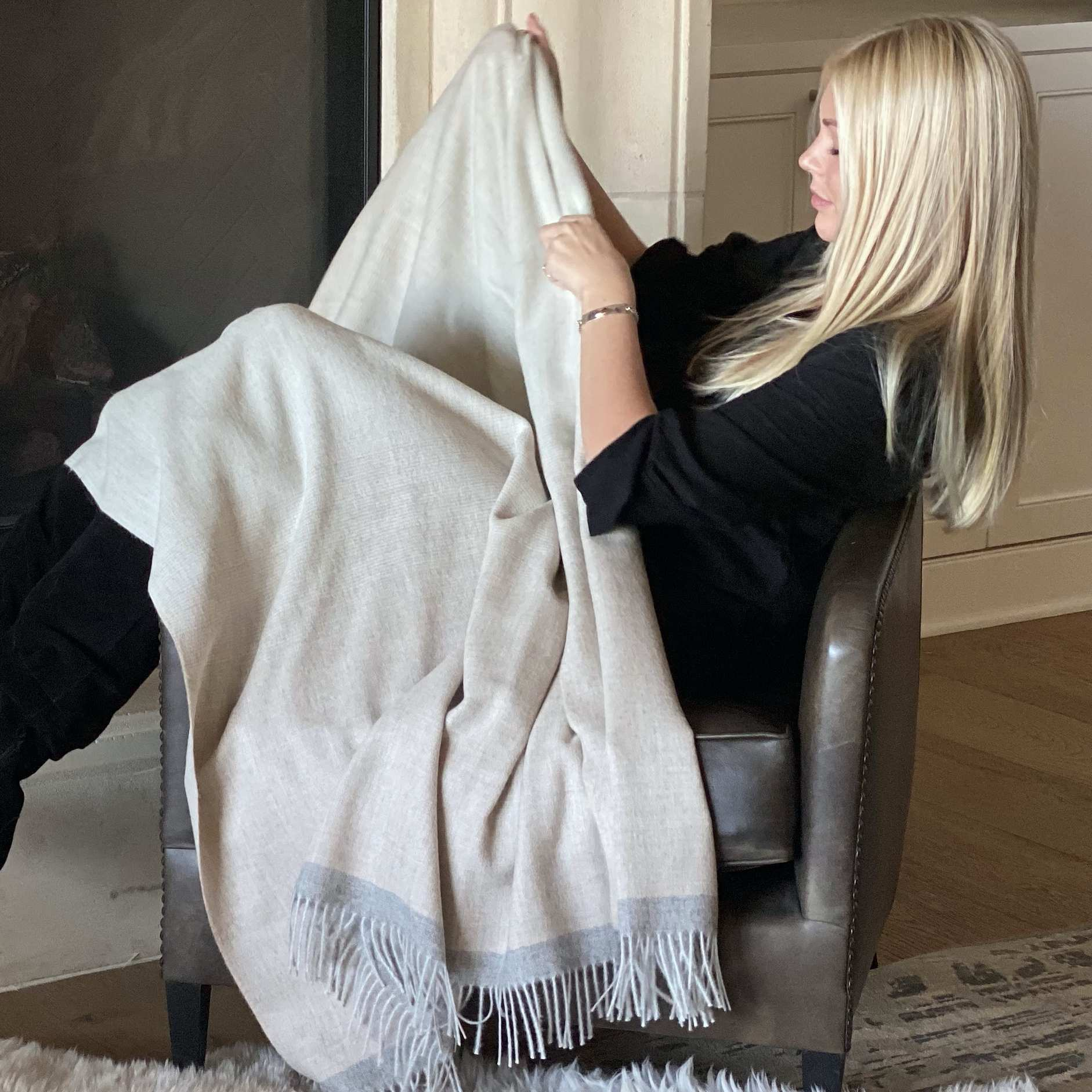 SOUL BLANKET |  COCO – TAN OMBRE + GRAY STRIPE