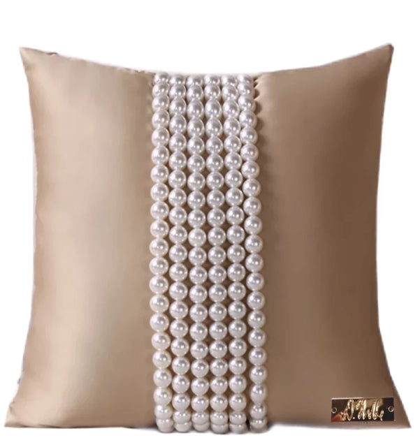 Pretty in Pearls  - Hand Beaded Decorative Throw Pillow