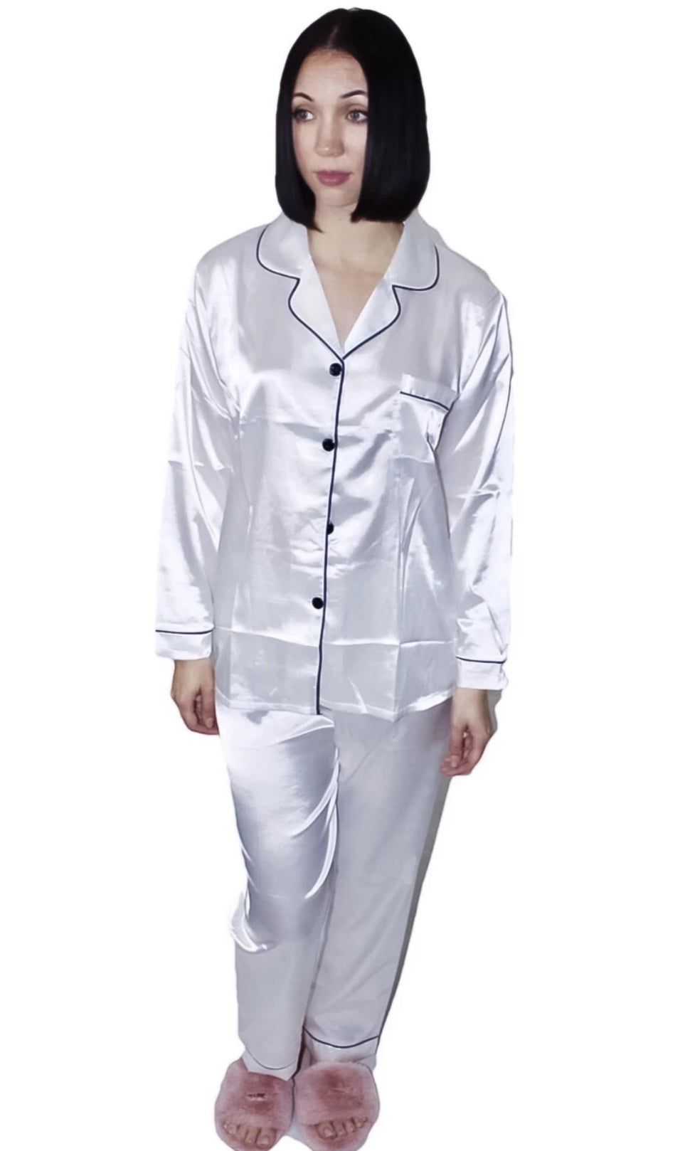 Dortheia Classic Two Piece Silk Pajama Pant Set with Button Up Blouse