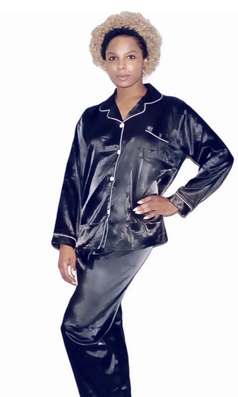 Dortheia Classic Two Piece Satin Pajama Pant Set with Button Up Blouse