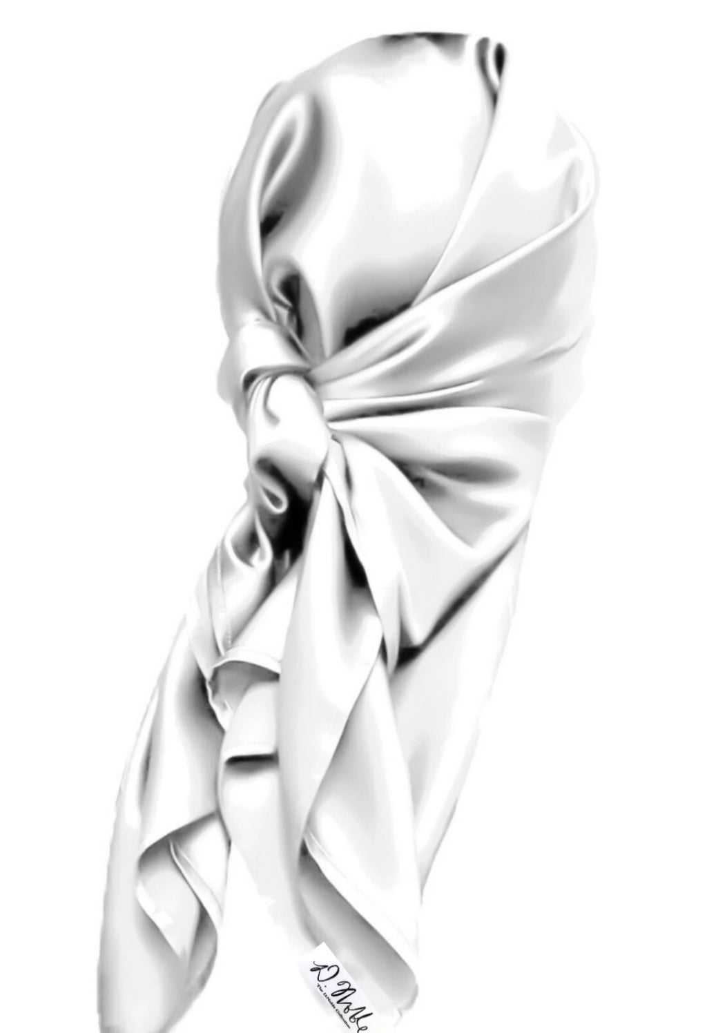 White 100% Mulberry Silk Hair Scarves