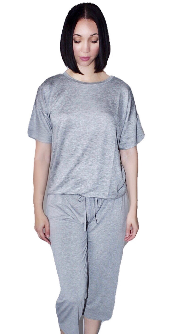 Ida Top and Cropped Pants Jersey Set