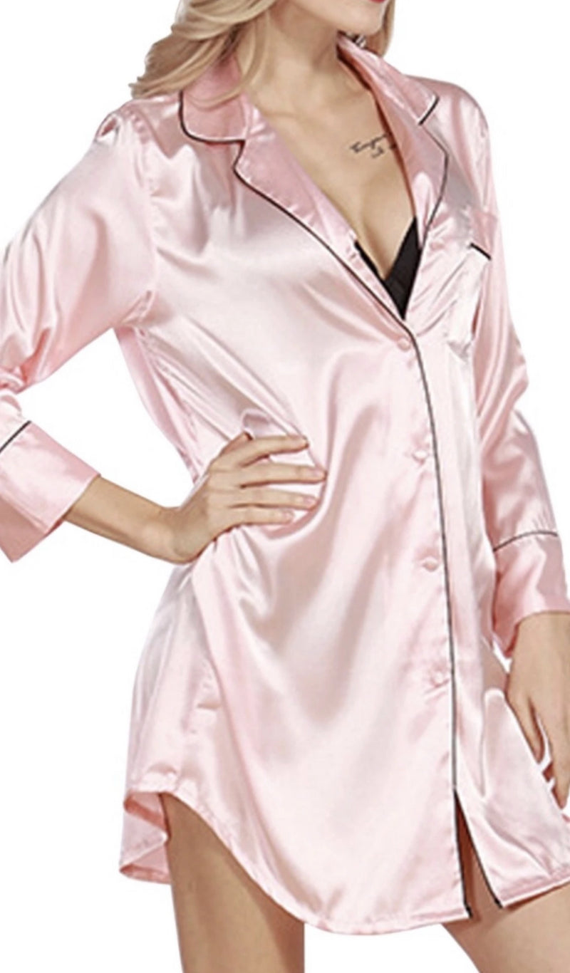 Nicole Classic Satin Long Sleeve Button Down Nightgown
