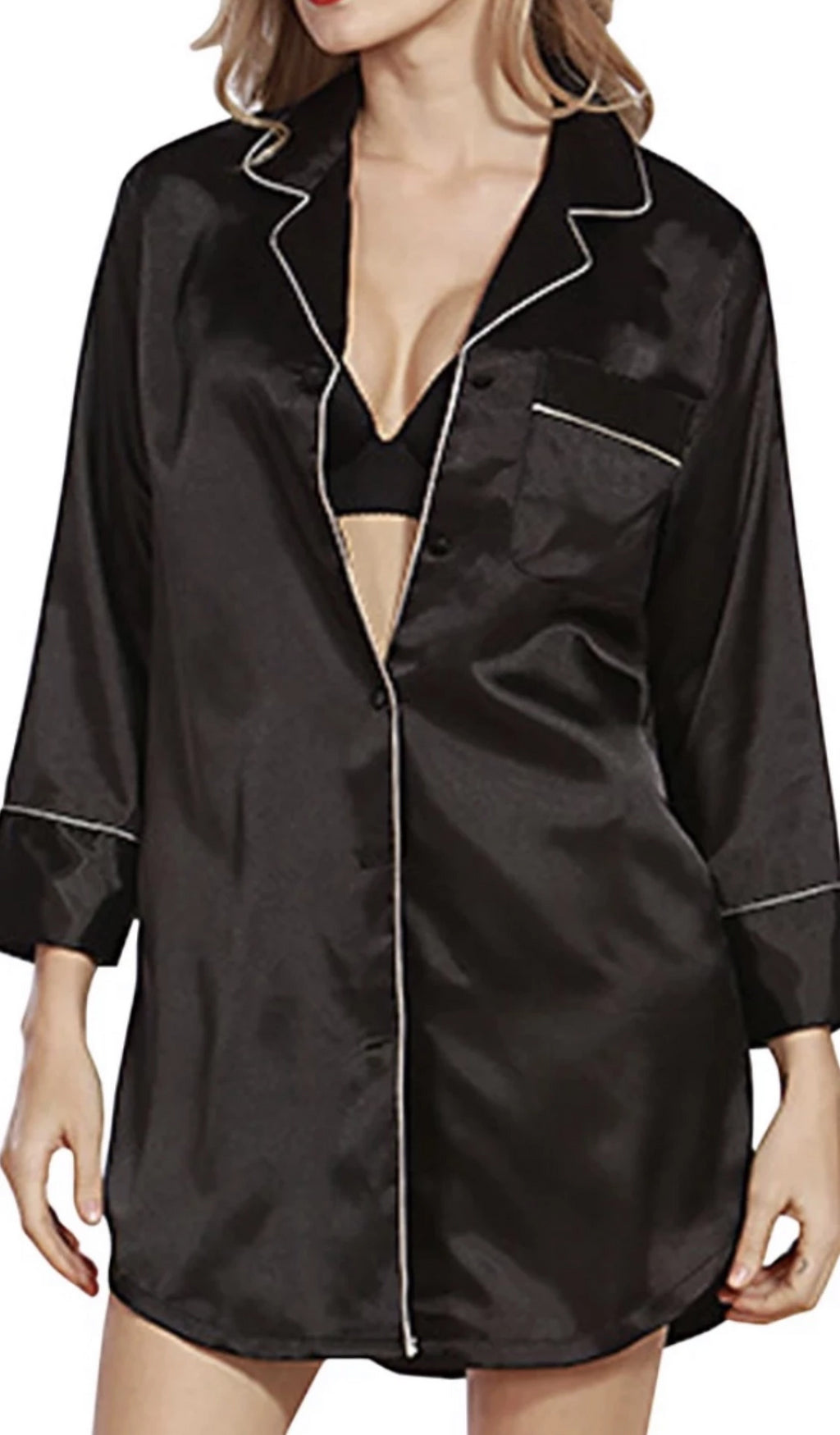 Nicole 100% Pure Mulberry Silk Classic Long Sleeve Button Down Nightgown