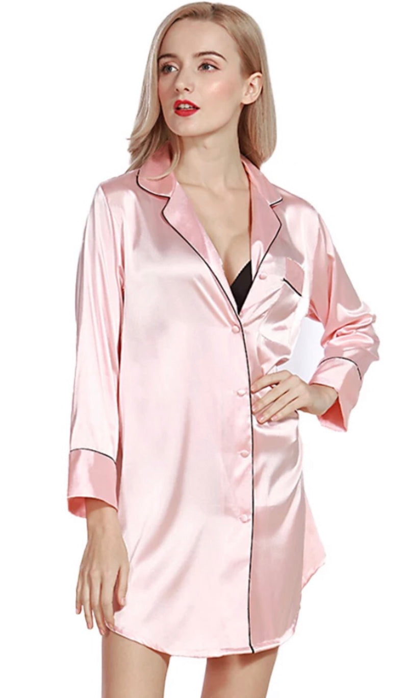 Nicole Classic Long Sleeve Button Down Nightgown