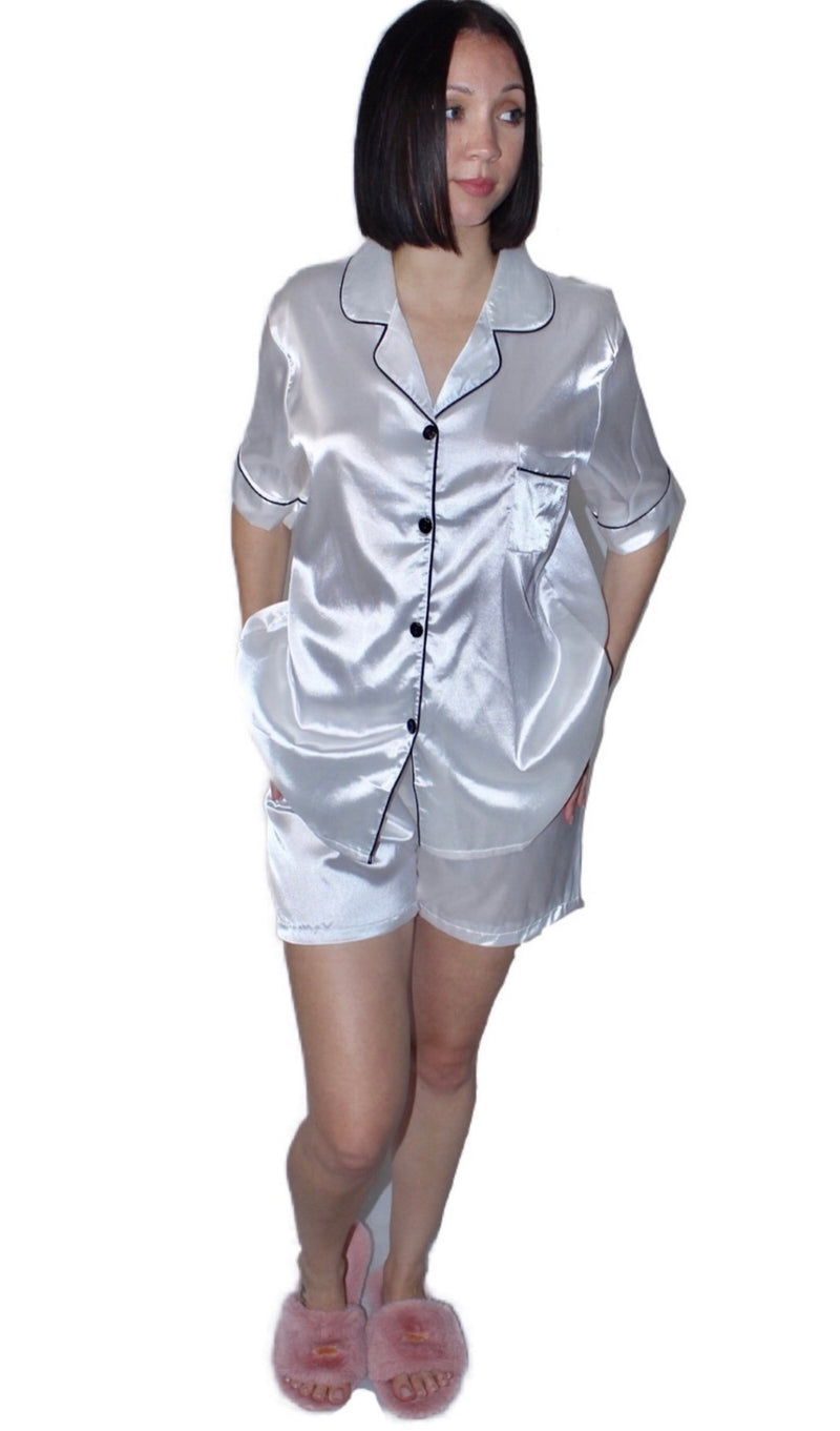 Milan Satin Night Set with Button Up Short Sleeve Blouse and Shorts