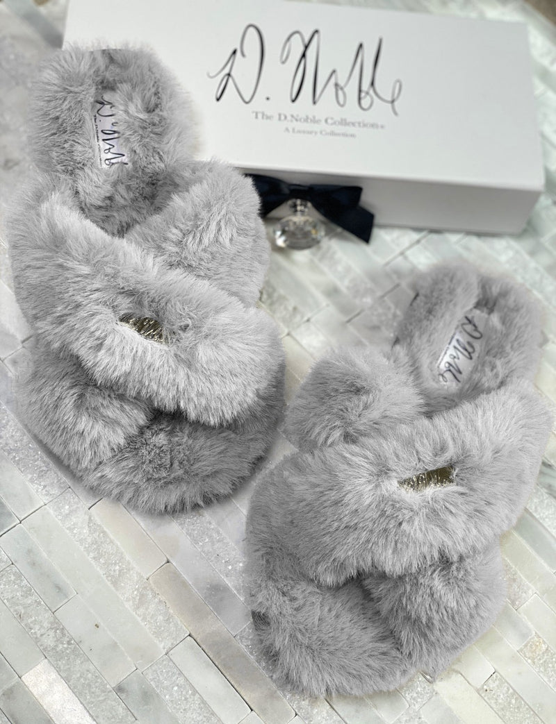Cross Strap Faux- Fur Comfort Slippers