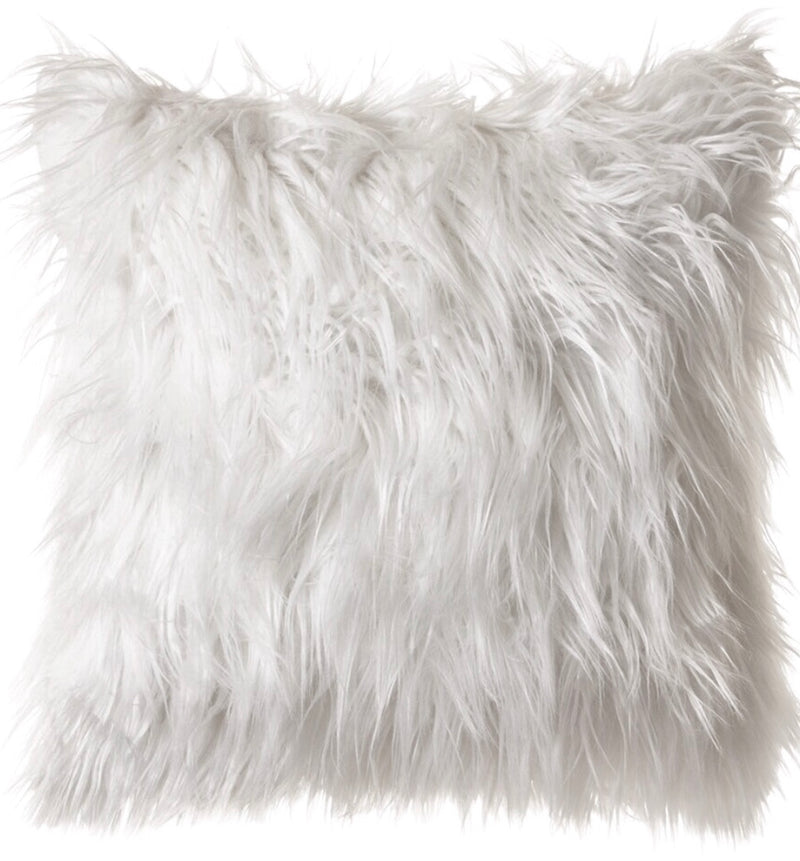 As if -Plush Mongolian Faux Fur Decorative Pillow