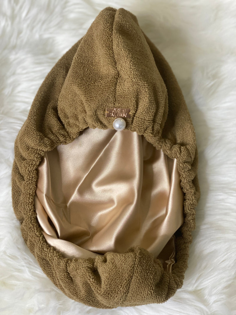 Tan Reversible Microfiber + Satin Hair Towel Wrap