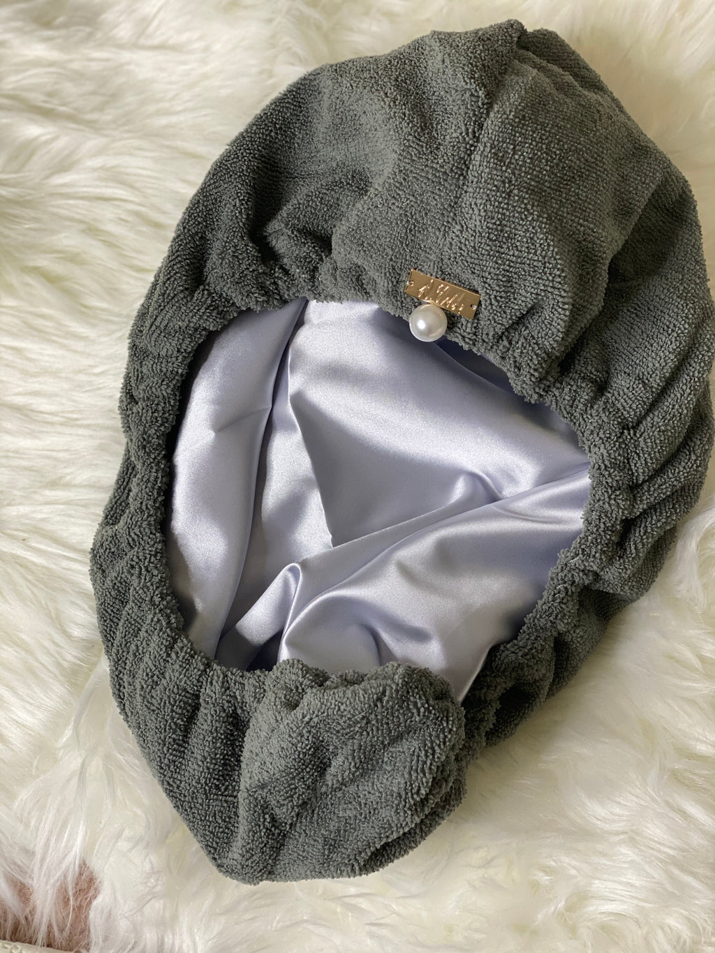 Grey Reversible Microfiber + Satin Hair Towel Wrap
