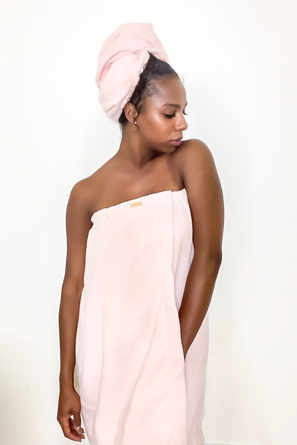 Pink Spa Bath Towel Wrap with Adjustable Closure & Elastic Top
