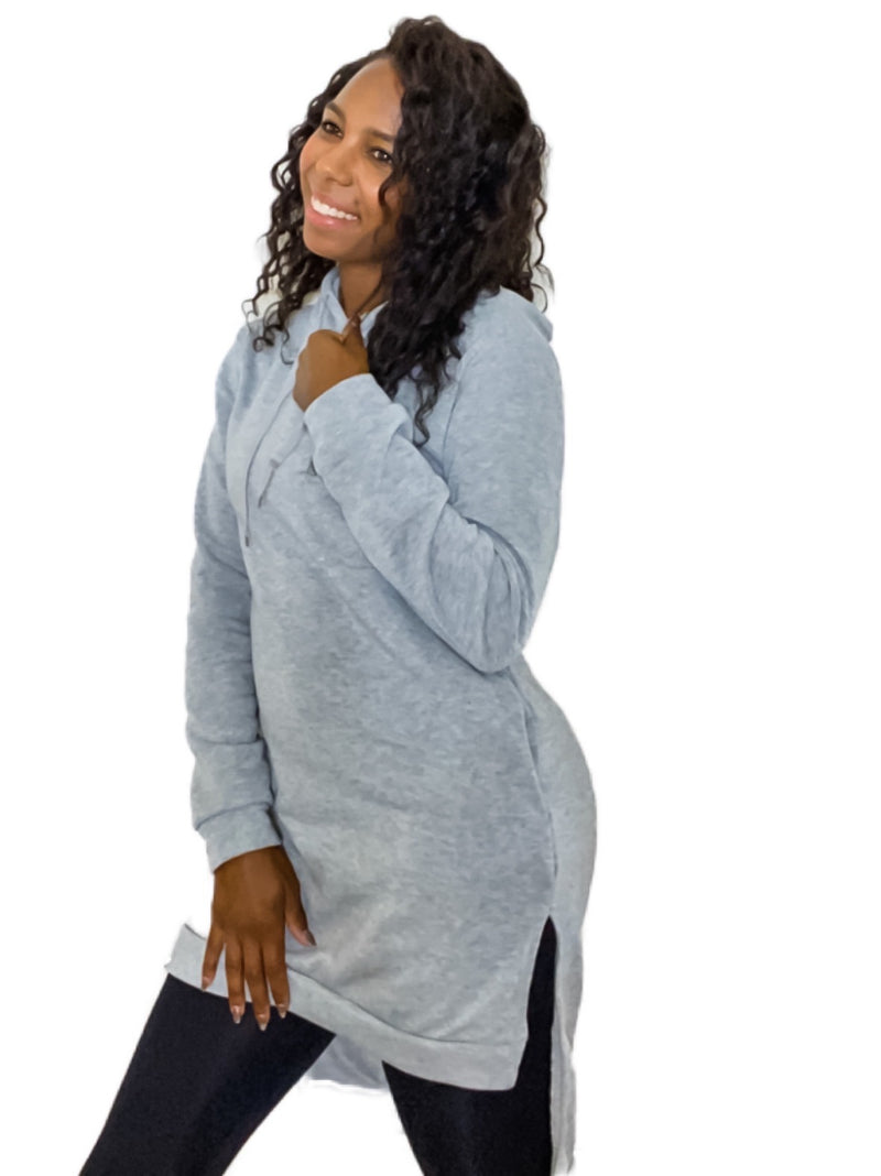 Patrice Differing Hem Long Sleeve Hoodie with Pockets