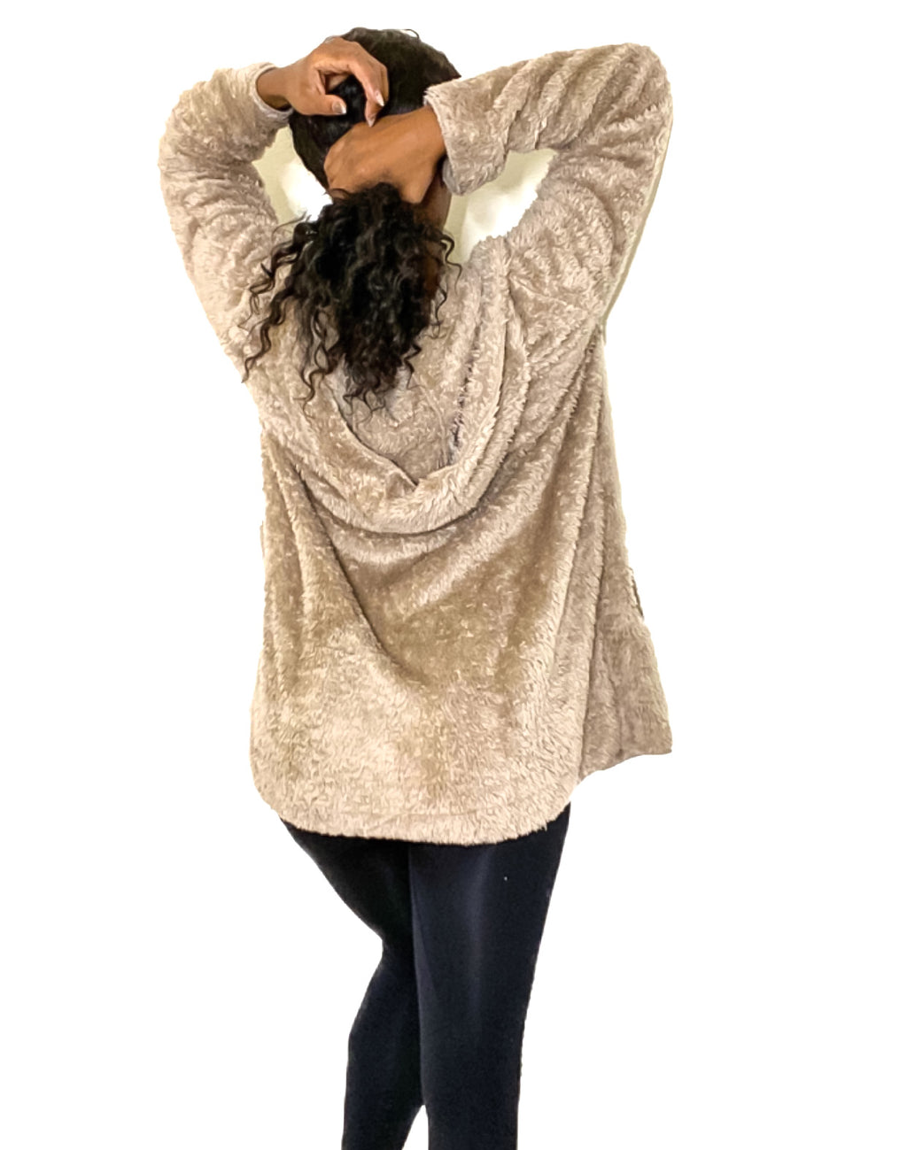 Mary Fuzzy Open Front Hooded Cardigan with Pockets