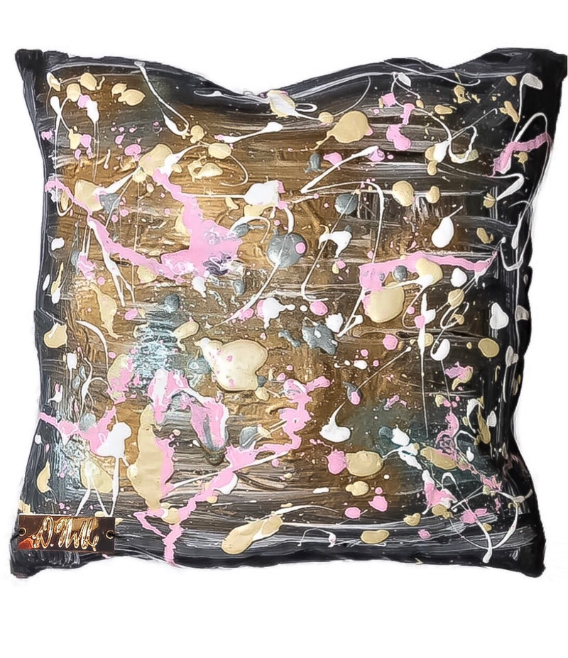Polka Phase - Hand Painted Abstract Art Throw Pillow