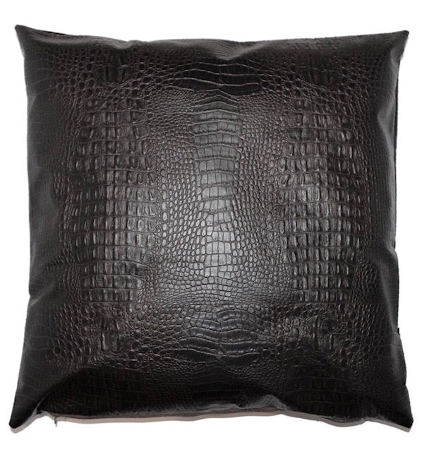 See ya Later- Faux Alligator Leather Throw Pillow
