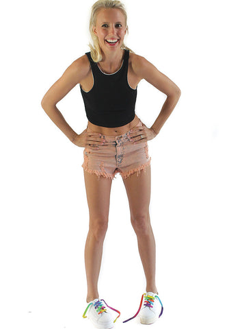High Waisted Creamsicle Shorts - BeHoneyBee - BeHoneyBee.com - 1
