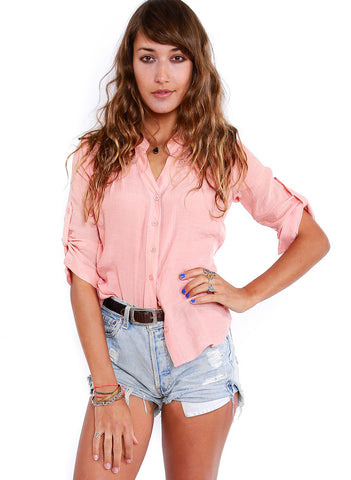 Just Peachy Button Down - BeHoneyBee - BeHoneyBee.com - 1