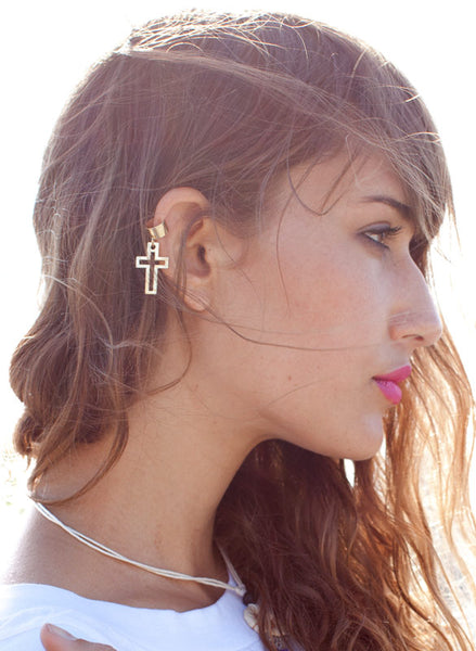 Cross Ear Cuff - Me - BeHoneyBee.com - 1