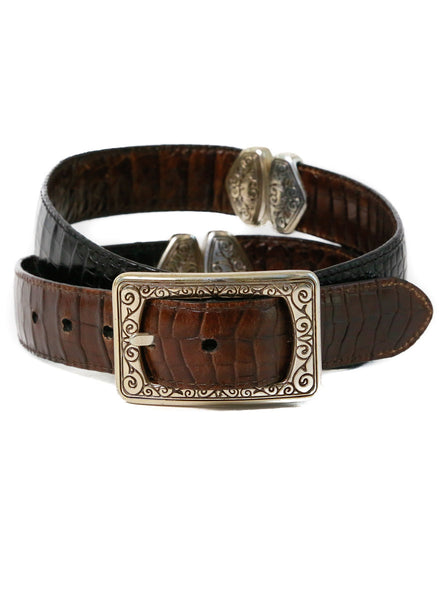 Reversible Stamped Leather Belt - Vintage - Vintage - BeHoneyBee.com
