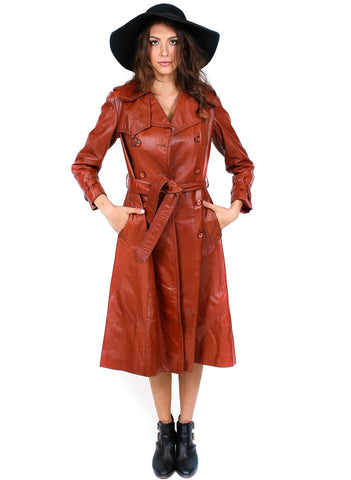 1970's Bisset Leather Trench Coat- Vintage - Vintage - BeHoneyBee.com - 1