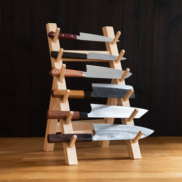 Wooden Six Piece Knife Stand