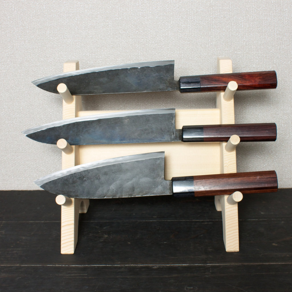 Wooden Three Piece Knife Stand