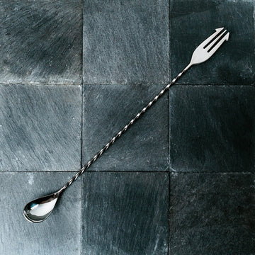 Twist Bar Spoon with Trident Fork - 30cm