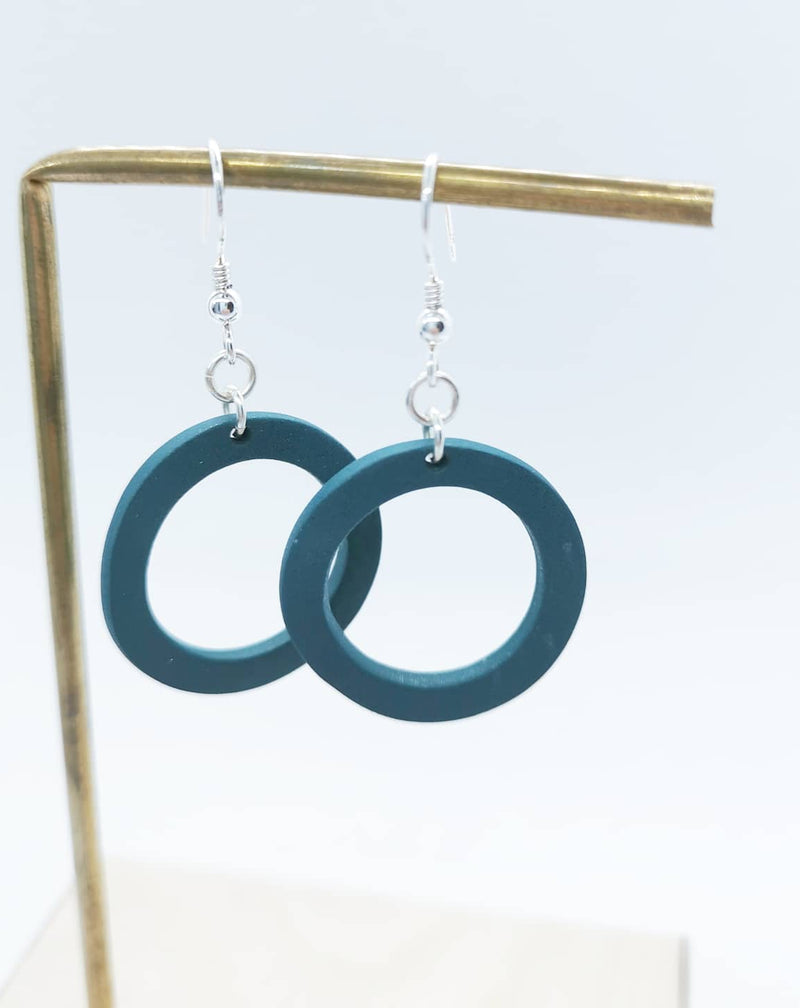 Green halo earrings