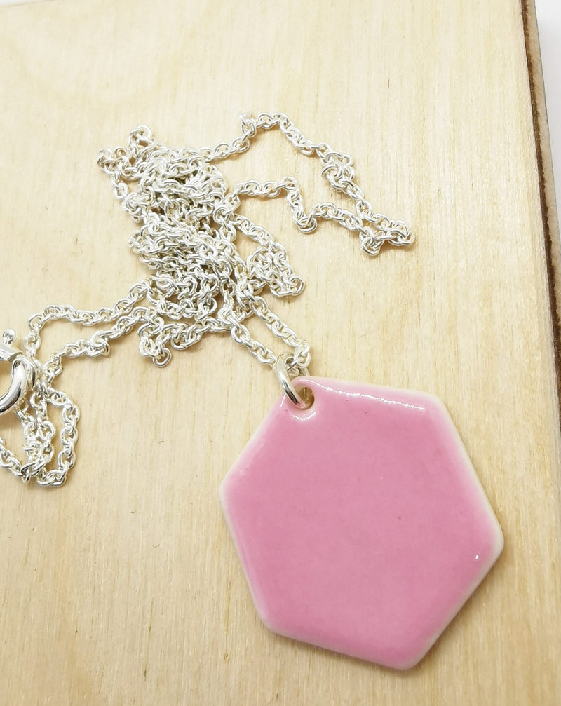Pink hexagon necklace-Smykker og klokker-MEM design-noia.shop