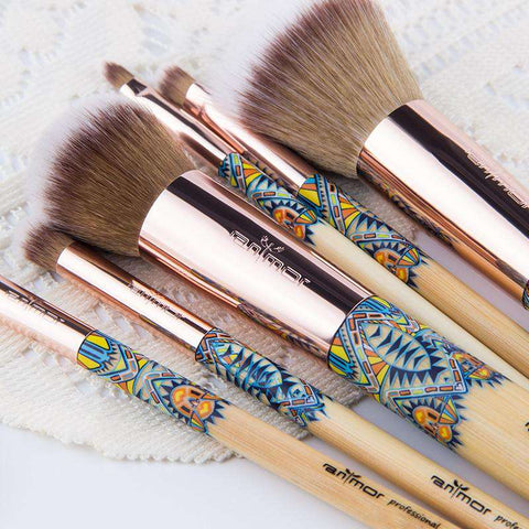 New Makeup Brushes 12PCS Set Bamboo Make Up Brush Collection Kit