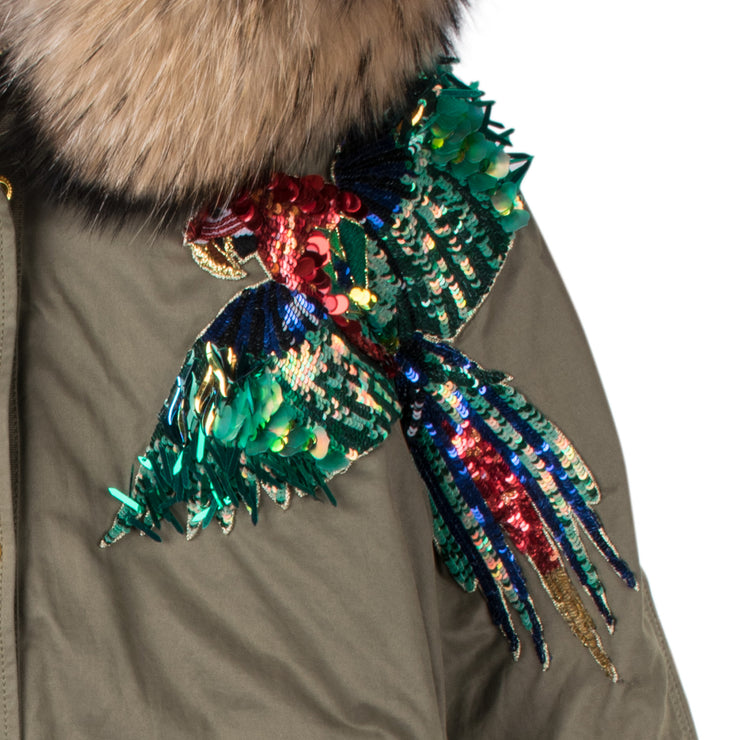 "Army Parka ""Paddy"" - olive (detail application 2)"
